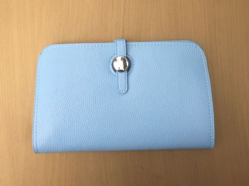 Faux Leather Dogon Style Wallet - Pale Blue